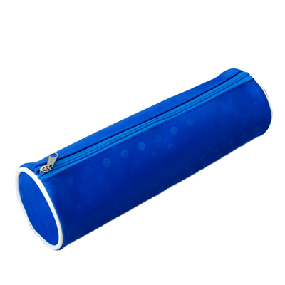 blue printing cylinder pencil case