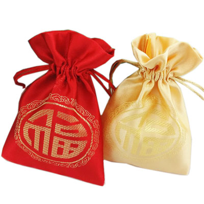 China red and gold thick Satin drawstring bag