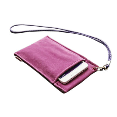 fake suede phone bag with handle