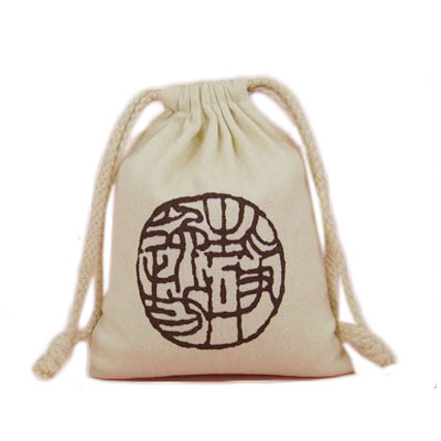 Canvas drawstring bag in printed logo
