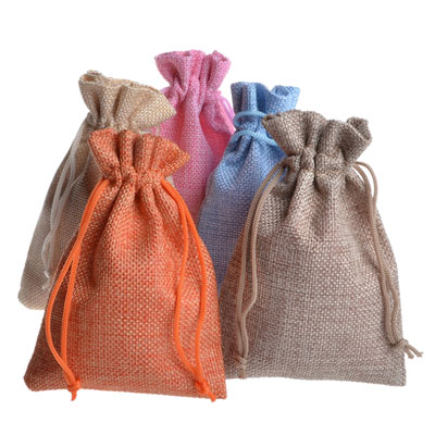 linen gift bag in drawstring