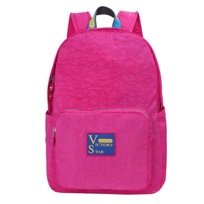 Washed nylon school backpack