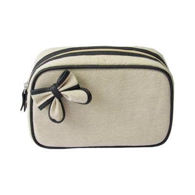 Natural Color Canvas Makeup Bag With Bow Decoration