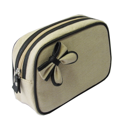 canvas cosmetic bag with nice ribbon