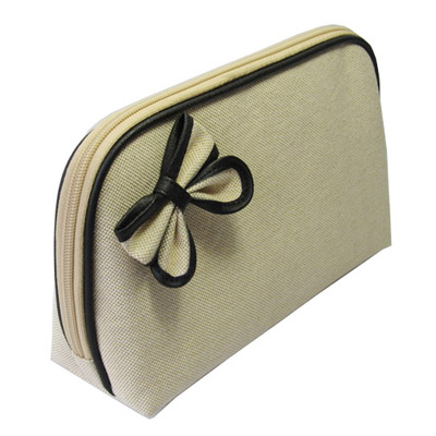 Simple canvas make up bag with ribbon