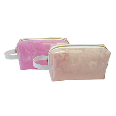 Monochrome Rose Pattern Clear Cosmetic Bag