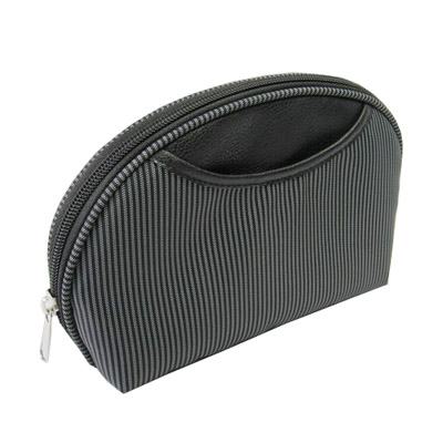 shell shape cosmetic bag in stripe nylon