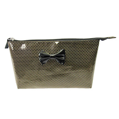 Gold honeycomb printing pu leather cosmetic bag