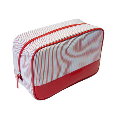 travel stripe polyester wash bag with piping around bag