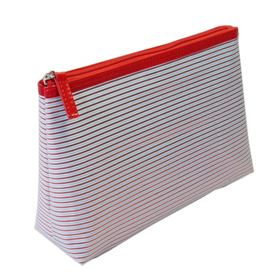 Nice red striped polyester cosmetic bag with vinyl binidng