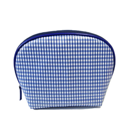 Semi round shape stripe make up bag