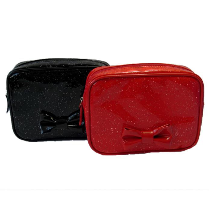 Glitter PU leather square cosmetic bag