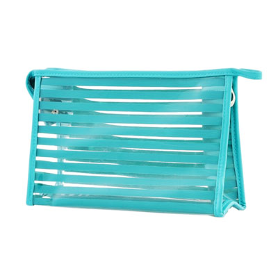 Blue horizontal stripes clear PVC cosmetic bag