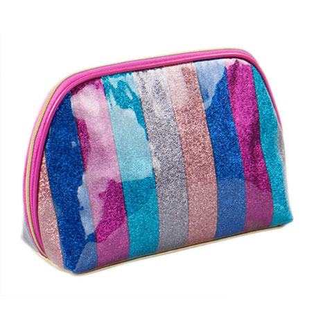 Glitter stripe PU leather makeup bag