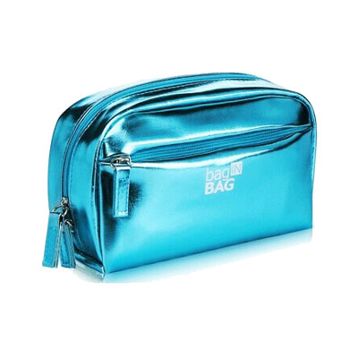 Metal PU leather ladies cosmetic bag