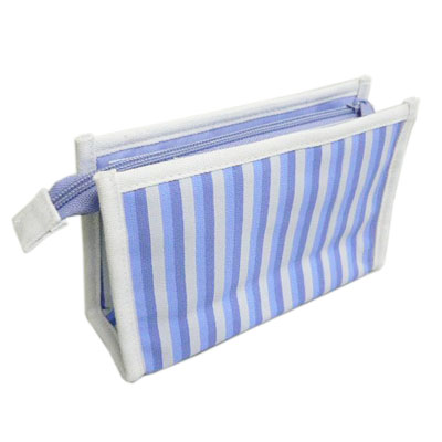 Cheap blue striped canvas makeup bag