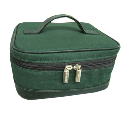 600D cosmetic case with PVC leather handle
