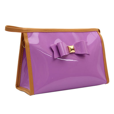 Cute patent PVC candy color cosmetic bag