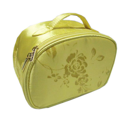 Satin with flock pattern cosmetic bag in round shape