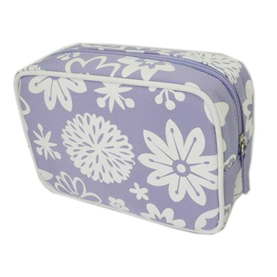 White printing square piping cosmetic bag