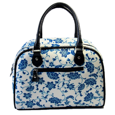 Flower printing women round handle tote bag