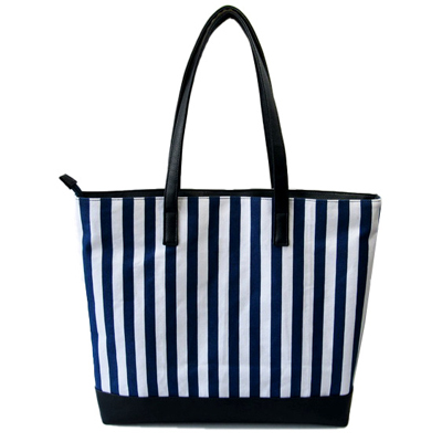 Stripe canvas shopping bag