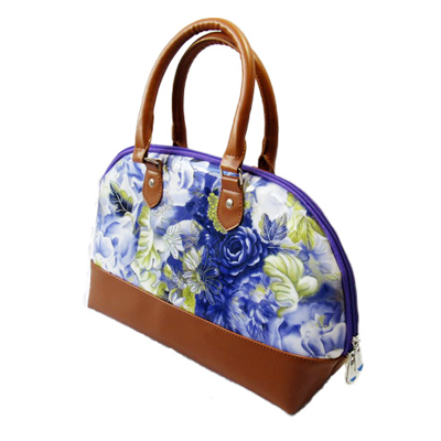Flower Print Stitching Shell Lady Handbag