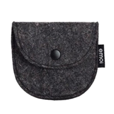 Semi-circular felt coin bag