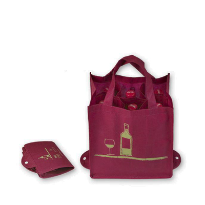 Foldable non woven wine bag