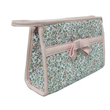 Quilted printed cosmetic bag