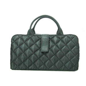 quilted cosmetic bag with handle