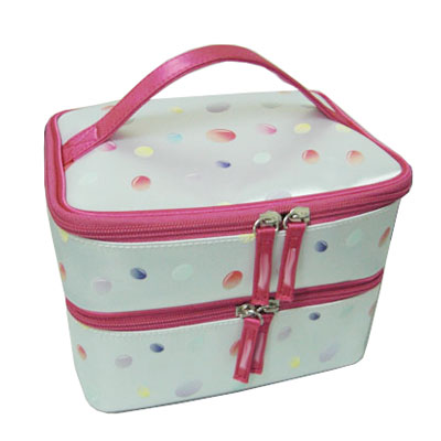 Square two layers cosmetic bag with handle