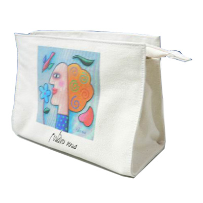 Dream canvas Cosmetic Bag with zipper and custom logo