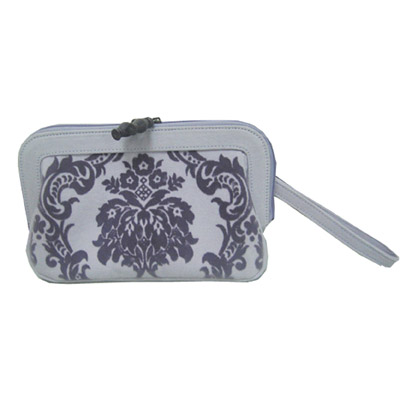 Canvas with velvet pattern cosmetic bag