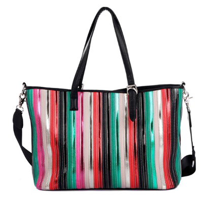 Large fashion ladies business bags in patent leather quilted stripe