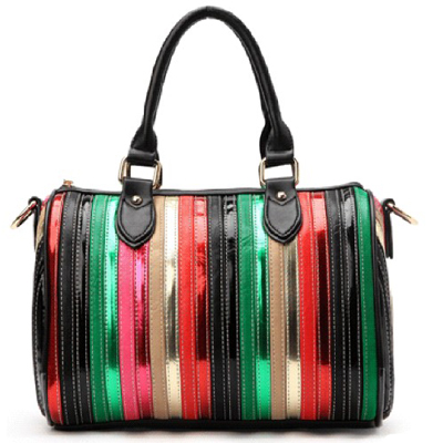 Fashion ladies tote bags with patent pu stripe quilted