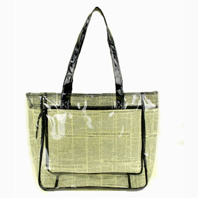 Clear PVC tote bag with printing