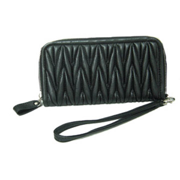 Quilted pu leather wallet for women